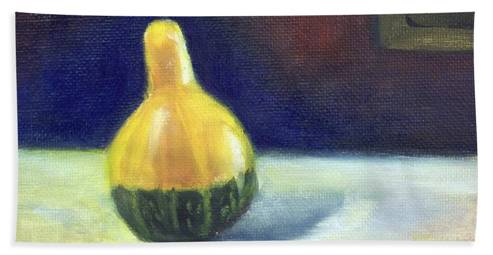 Still Life Bath Sheet featuring the painting A Gourd by Yoshiko Mishina