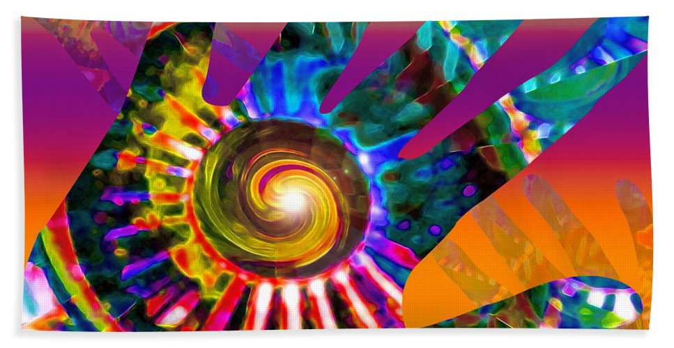 Hand Hand Towel featuring the digital art A Helping Hand by Gwyn Newcombe