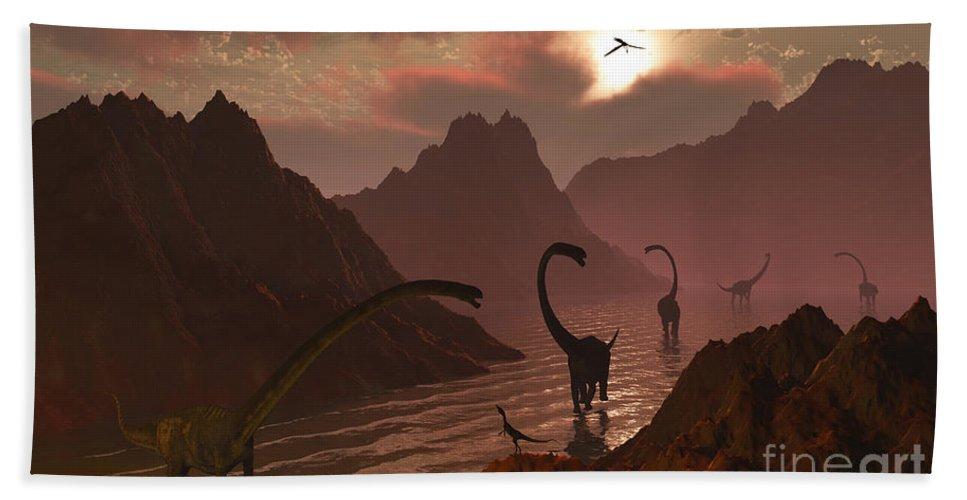 Horizontal Hand Towel featuring the digital art A Herd Of Omeisaurus Dinosaurs by Mark Stevenson