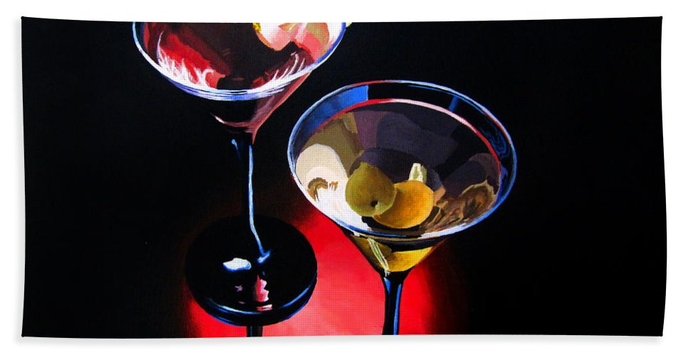 Wine Bath Sheet featuring the painting A Hint Of Lemon And Olives by Kayleigh Semeniuk