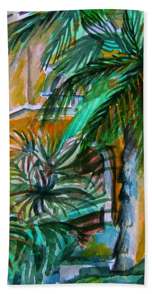 Palm Hand Towel featuring the painting A Hotel In Sorrento Italy by Mindy Newman