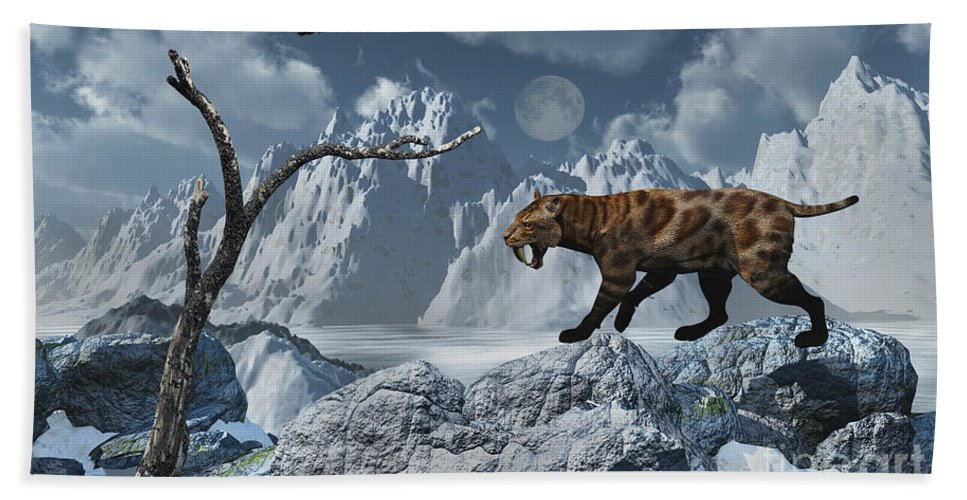 Digitally Generated Image Hand Towel featuring the digital art A Lone Sabre-toothed Tiger In A Cold by Mark Stevenson