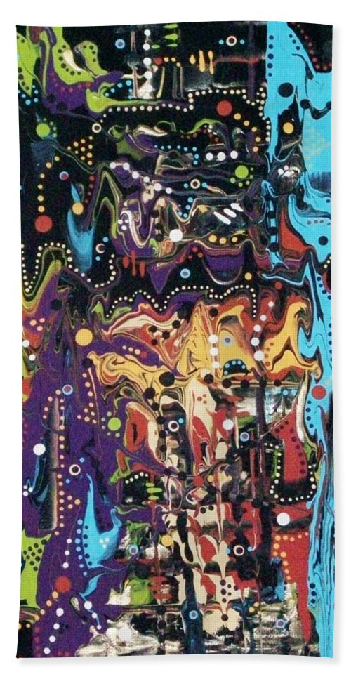 Abstract; Acrylic On Canvas; Market; Nairobi; Vibrance; Vitality; Creativity; Happy Noise; Crowds; Wondrous Smells; Fruits; Meats; Vegetables; Ready-to-eat Goodies; Lengths Of Fabric; Finished Fabric Goods; Carvings From Small Ornaments To Furniture; Beaded Works - Especially Jewellery; Woven Goods - Especially Mats And Baskets; Etc. Bath Sheet featuring the painting A Market In Nairobi by Charlotte Nunn