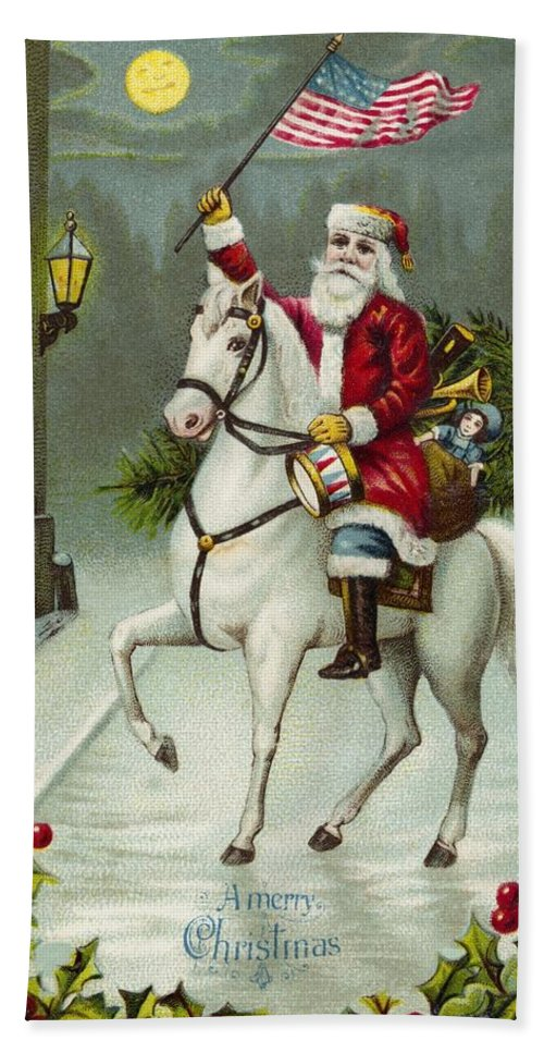 Christmas Card Hand Towel featuring the painting A Merry Christmas Card Of Santa Riding A White Horse by American School