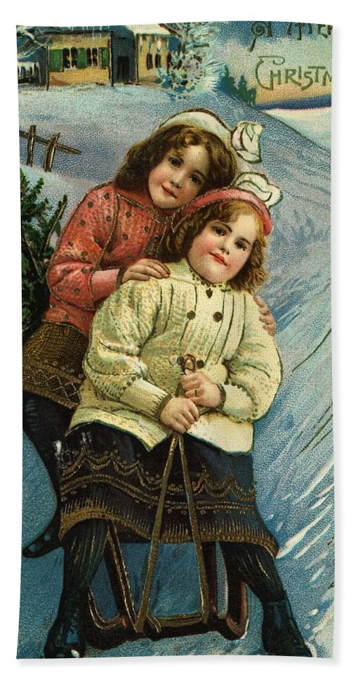 Winter Hand Towel featuring the painting A Merry Christmas Postcard With Sledding Girls by American School