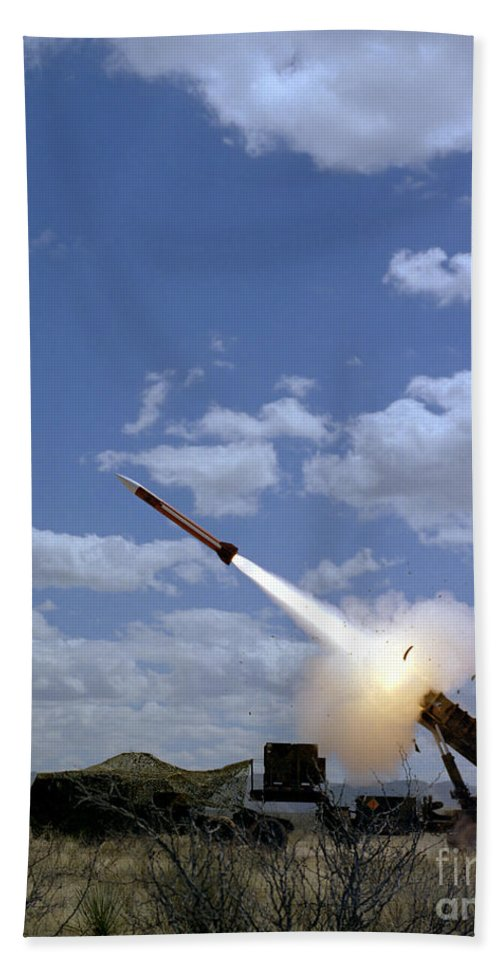 Vertical Hand Towel featuring the photograph A Mim-104 Patriot Anti-aircraft Missile by Stocktrek Images