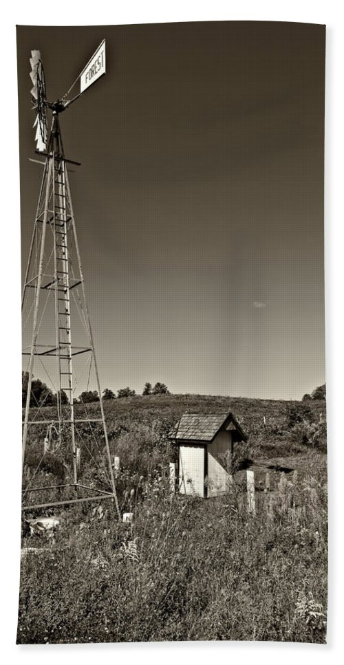 Grey Roots Museum & Archives Hand Towel featuring the photograph A Moving Memory Monochrome by Steve Harrington