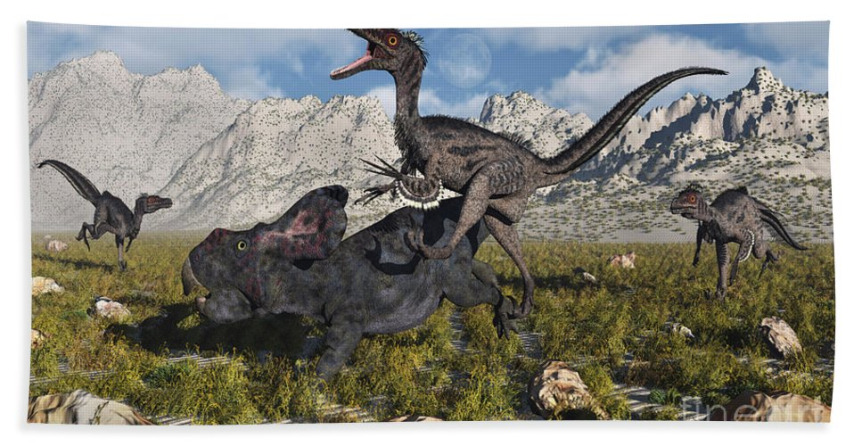 Digitally Generated Image Hand Towel featuring the digital art A Pack Of Velociraptors Attack A Lone by Mark Stevenson