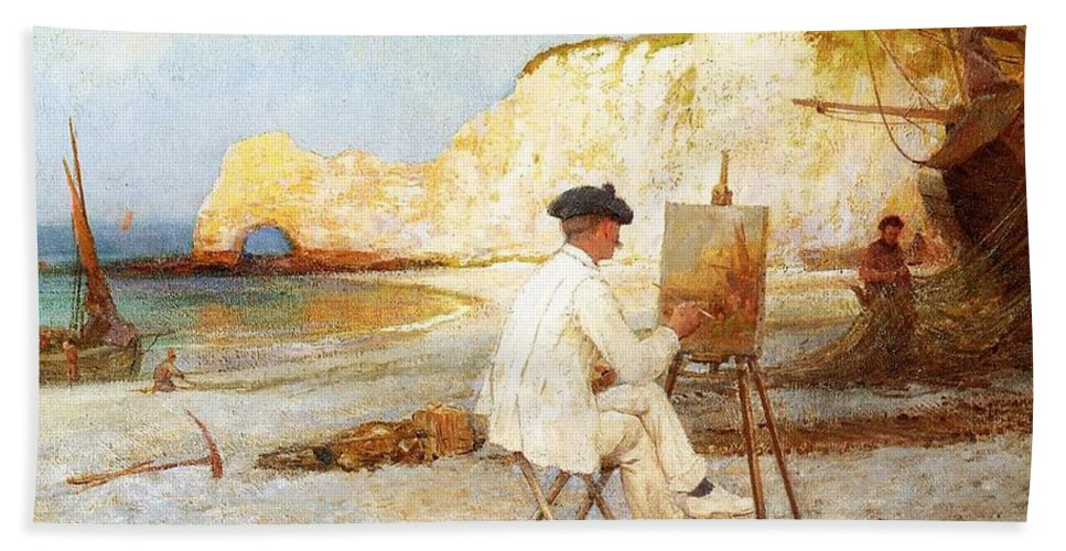 A Painter By The Sea Side Bath Sheet featuring the painting A Painter By The Sea Side by William Henry Lippincott