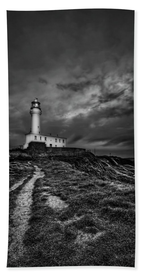Lighthouse Bath Sheet featuring the photograph A Path To Enlightment Bw by Evelina Kremsdorf