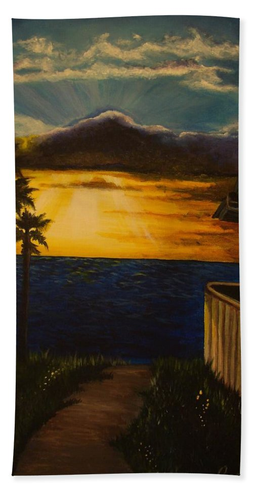 Sunset Bath Towel featuring the painting A Perfect Moment by Glory Fraulein Wolfe