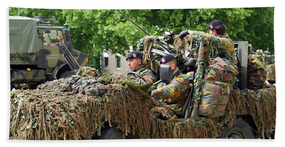Armed Forces Bath Sheet featuring the photograph A Recce Or Scout Team Of The Belgian by Luc De Jaeger