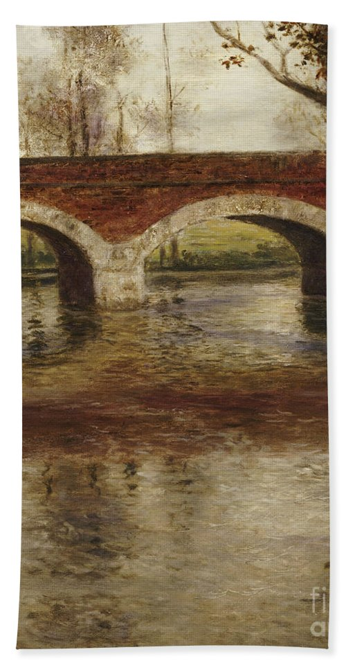 River Hand Towel featuring the painting A River Landscape With A Bridge by Fritz Thaulow
