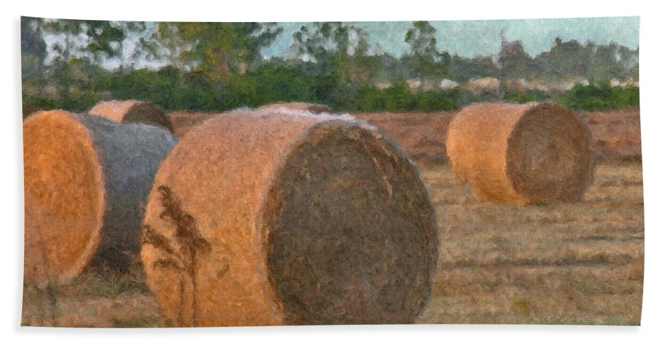 Gold Bath Sheet featuring the digital art A Roll In The Hay by Peggy Starks