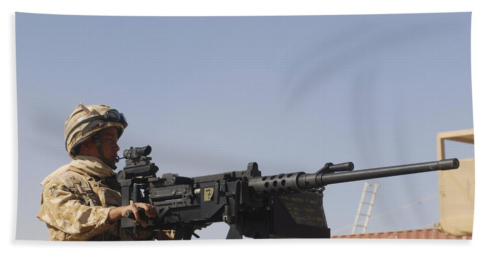 Middle East Bath Sheet featuring the photograph A Royal Marine Manning A .50 Caliber by Andrew Chittock