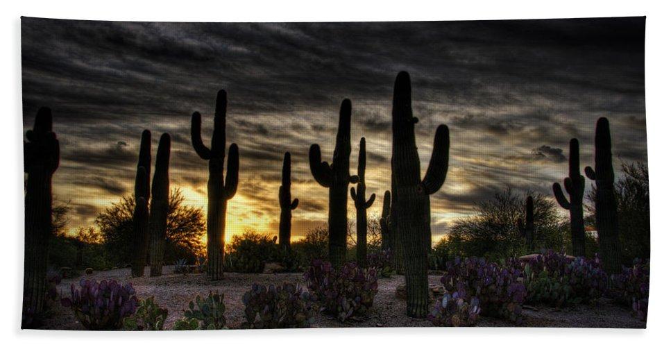 Sunrise Bath Sheet featuring the photograph A Saguaro Sunrise by Saija Lehtonen
