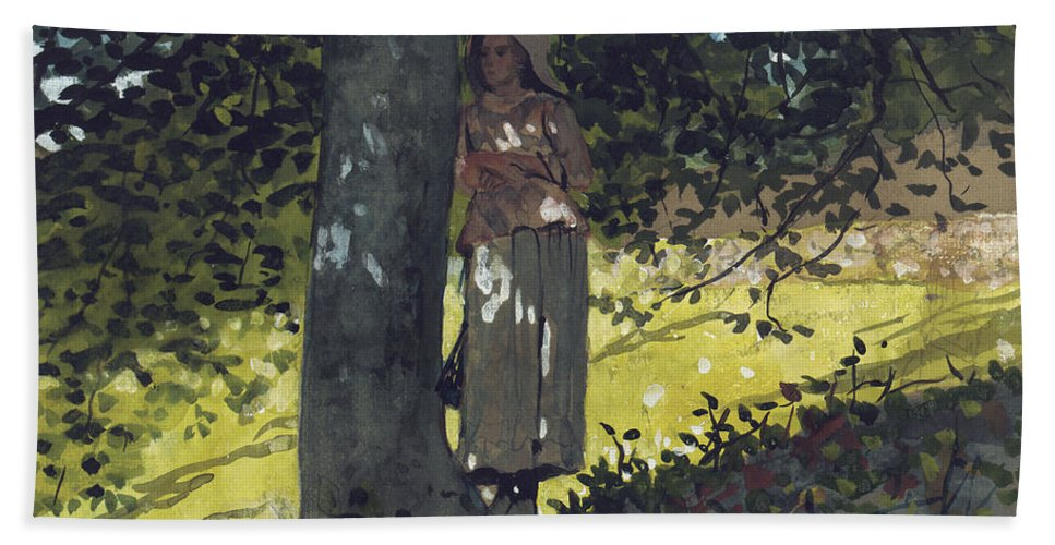 A Shady Spot Bath Sheet featuring the painting A Shady Spot by Winslow Homer