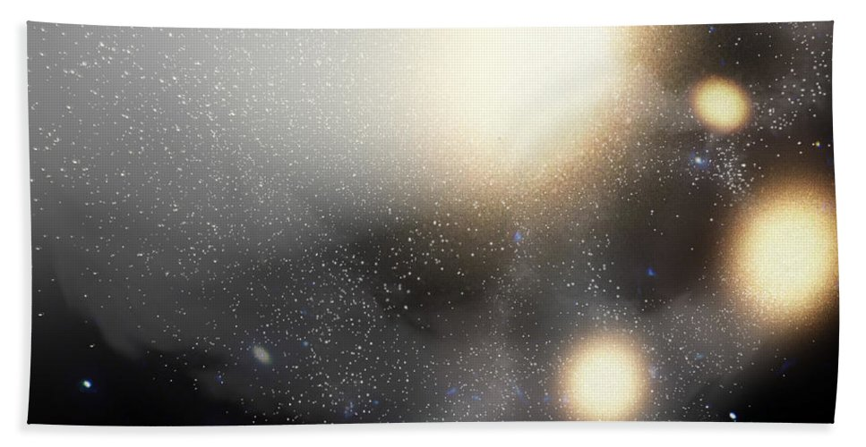 Astronomy Bath Sheet featuring the digital art A Smash-up Of Galaxies by Stocktrek Images