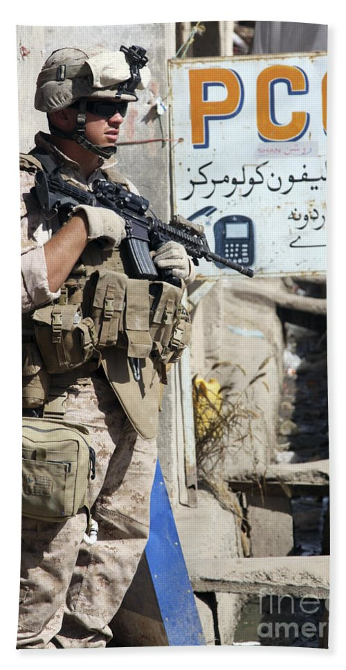 Sangin Bath Sheet featuring the photograph A Soldier Provides Security by Stocktrek Images