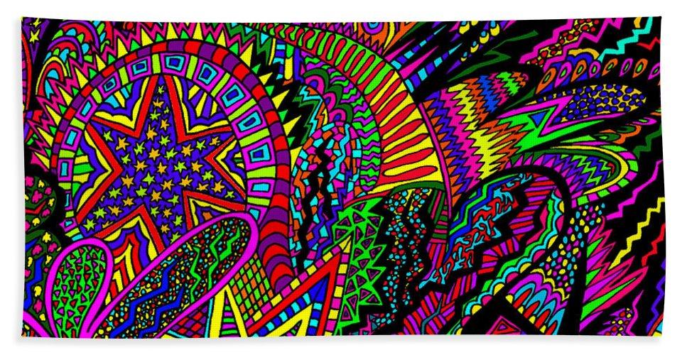 Doodle Art Bath Sheet featuring the painting A Star Is Taken by Karen Elzinga