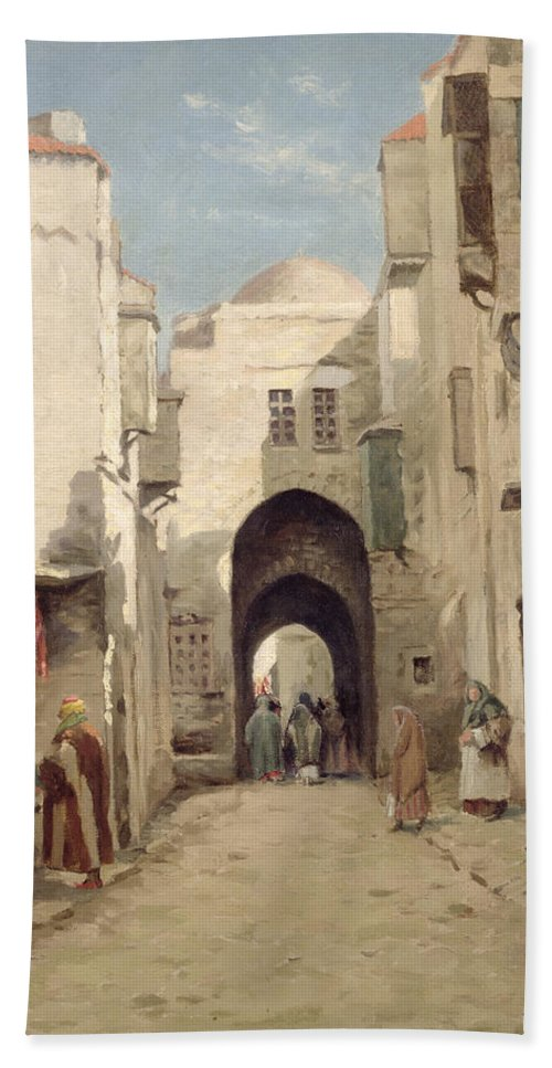 Holy City; Urban; Arch; C19th; C20th; Israeli; Israel; Hanging; Carcass; Meat; Stall Bath Sheet featuring the painting A Street In Jerusalem by Percy Robert Craft