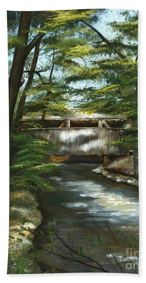 Covered Bridge Hand Towel featuring the painting A Summer Walk Along The Creek by Nancy Patterson