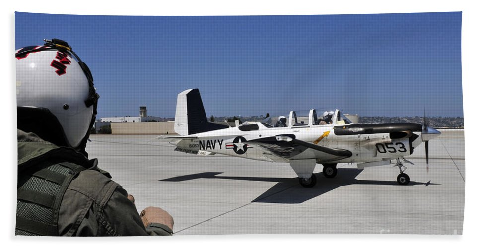 Navy Hand Towel featuring the photograph A T-35c Training Aircraft Prepars by Stocktrek Images