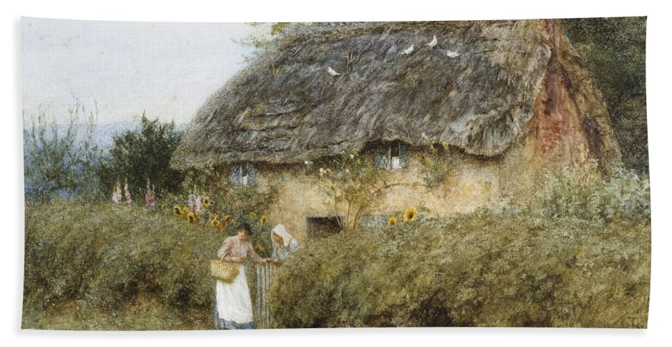 A Thatched Cottage Near Peaslake Hand Towel featuring the painting A Thatched Cottage Near Peaslake Surrey by Helen Allingham