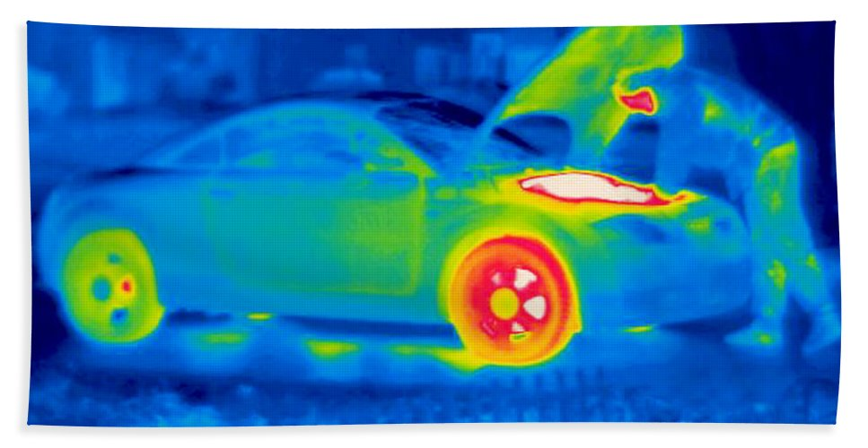 Thermogram Hand Towel featuring the photograph A Thermogram Of A Man Working On A Car by Ted Kinsman