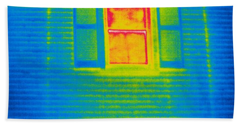 Thermogram Hand Towel featuring the photograph A Thermogram Of A Window by Ted Kinsman