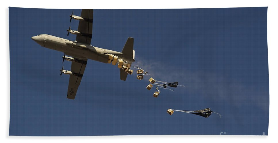 Large Group Of Objects Hand Towel featuring the photograph A U. S. Air Force C-130 Hercules by Stocktrek Images