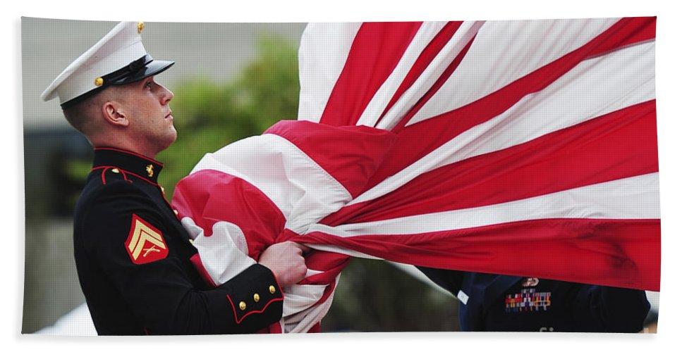 Ceremony Hand Towel featuring the photograph A United States Marine Takes by Stocktrek Images