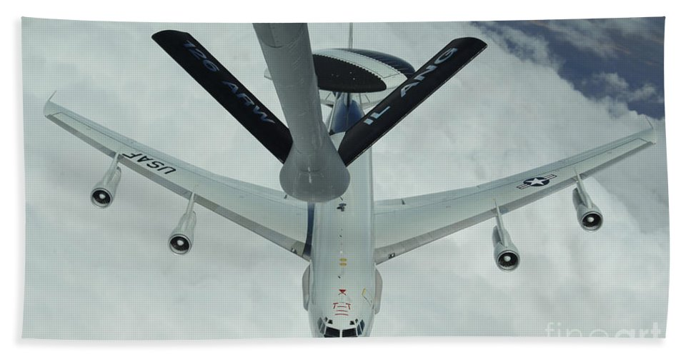 Awacs Bath Sheet featuring the photograph A U.s. Air Force E-3 Sentry Moves by Stocktrek Images