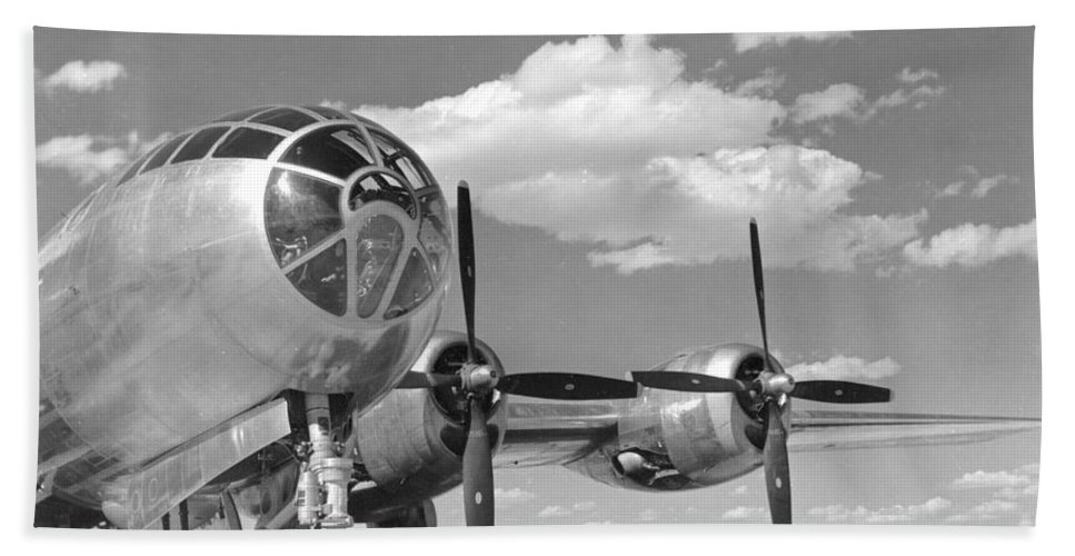 B-29 Hand Towel featuring the photograph A U.s. Army Air Forces B-29 by Stocktrek Images
