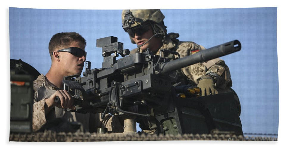 Afghanistan Hand Towel featuring the photograph A U.s. Marine Fires A Gmg Automatic by Terry Moore