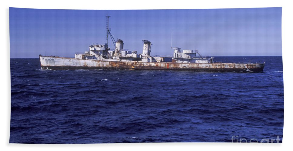 Military Hand Towel featuring the photograph A U.s. Navy Deactivated Ship Sits Ready by Michael Wood