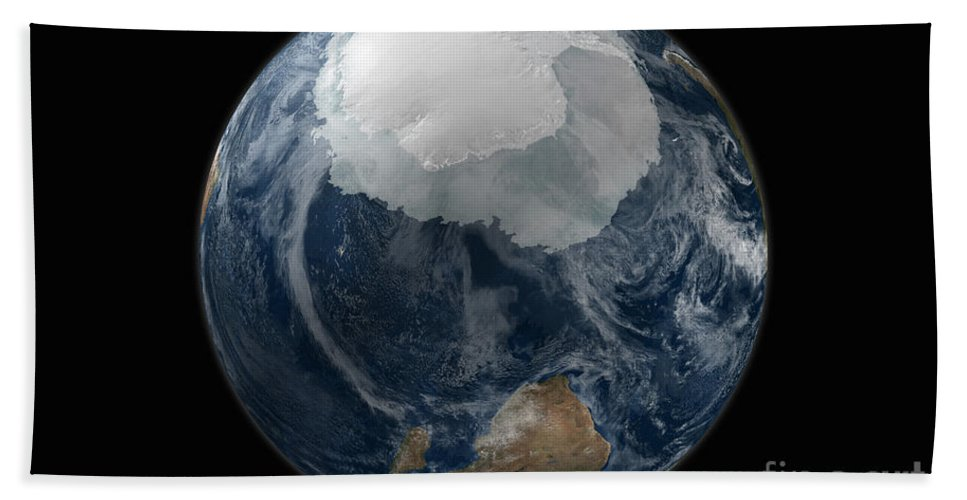 Africa Bath Sheet featuring the photograph A View Of The Earth With The Full by Stocktrek Images