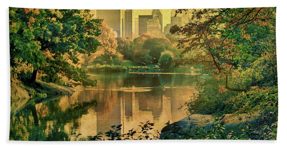 Autumn Bath Sheet featuring the photograph A Vintage Glimpse Of The Boating Lake by Chris Lord