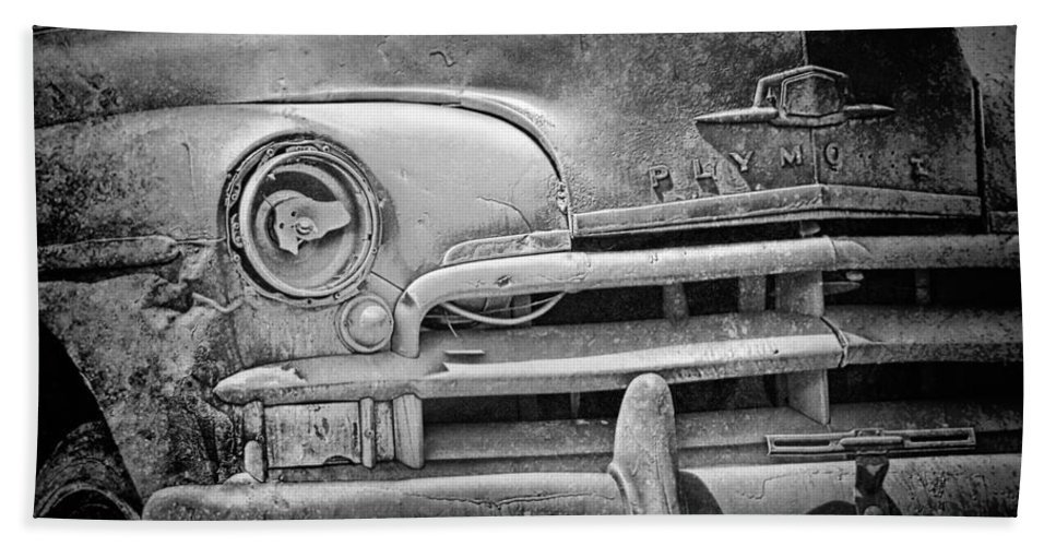 Art Bath Sheet featuring the photograph A Vintage Junk Plymouth Auto by Randall Nyhof
