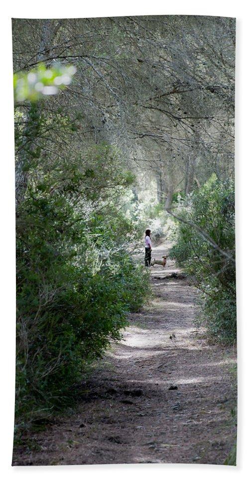 Menorca Bath Sheet featuring the photograph a walk about fairy wood - Mediterranean autumn forest by Pedro Cardona Llambias