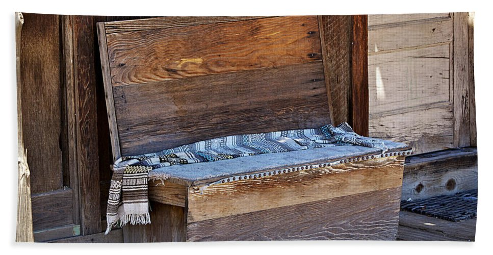 Bench Hand Towel featuring the photograph A Weathered Bench by Phyllis Denton