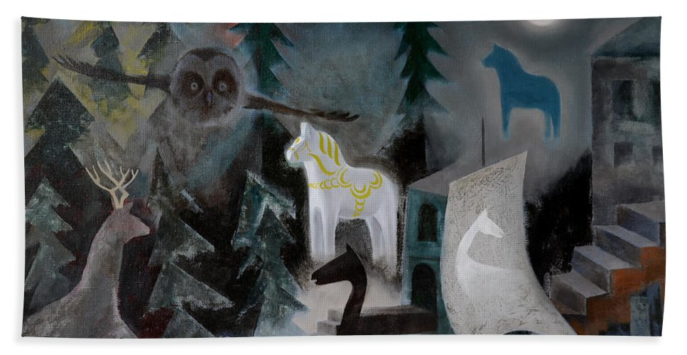 Moon Bath Sheet featuring the painting A White Horse by Jukka Nopsanen