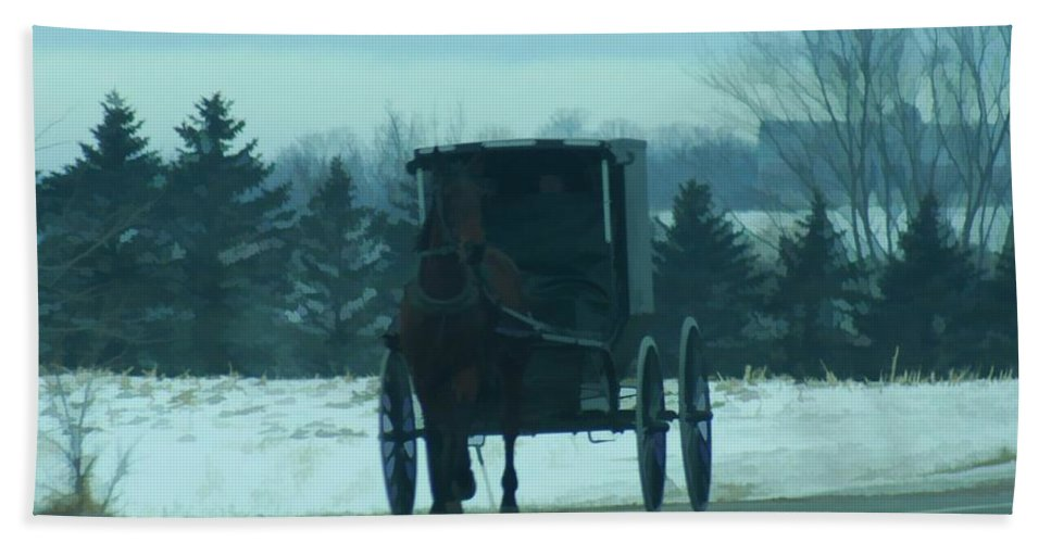 Amish Bath Sheet featuring the digital art A Winters Day by Tommy Anderson