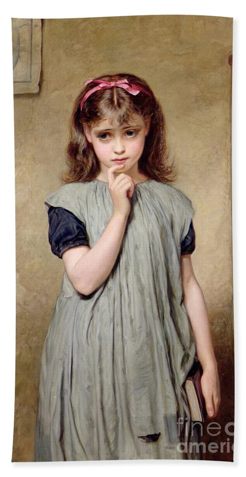 A Young Girl In The Classroom Bath Sheet featuring the painting A Young Girl In The Classroom by Charles Sillem Lidderdale