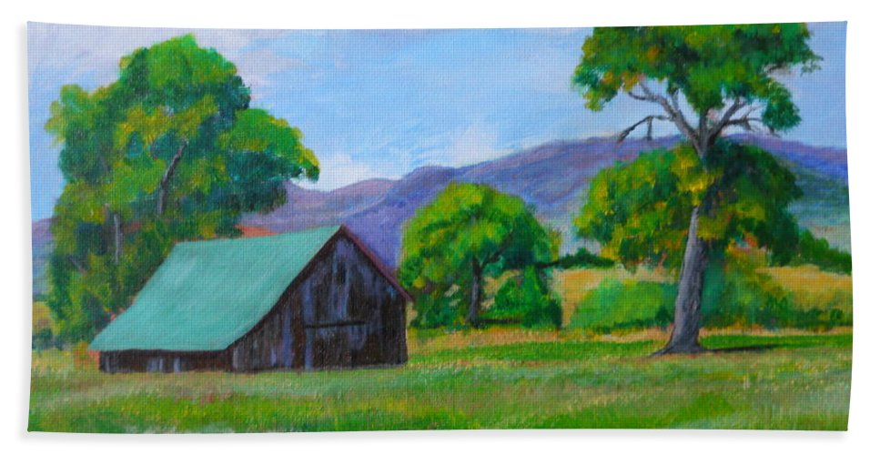 Barns Bath Sheet featuring the painting Abandoned Barn by Michael Brennan