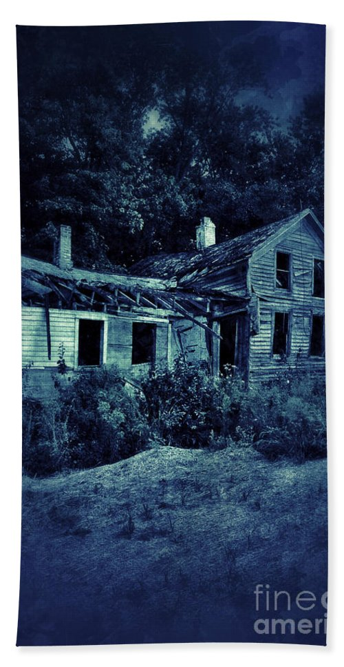 Old Bath Sheet featuring the photograph Abandoned House At Night by Jill Battaglia