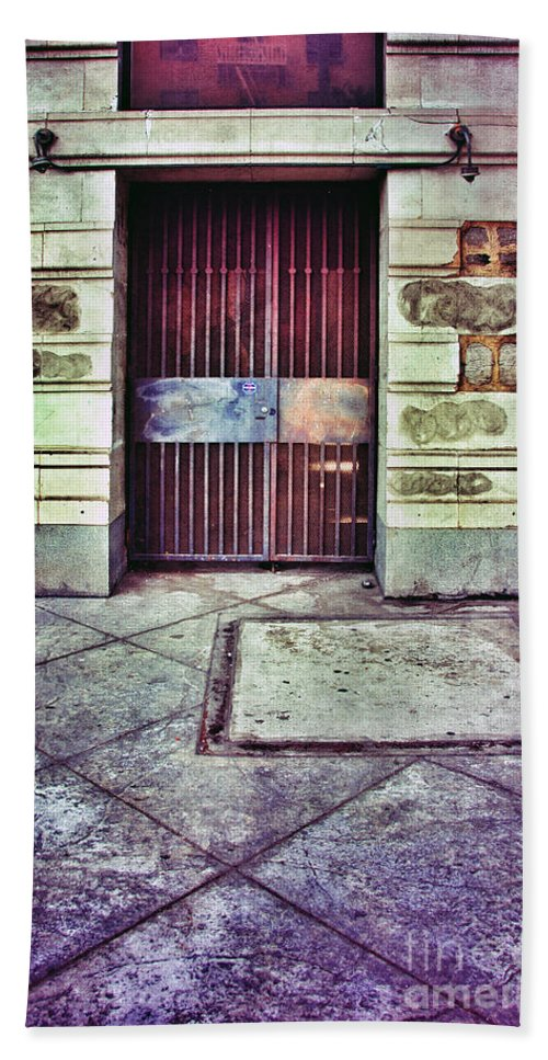 Door Bath Sheet featuring the photograph Abandoned Urban Building by Jill Battaglia