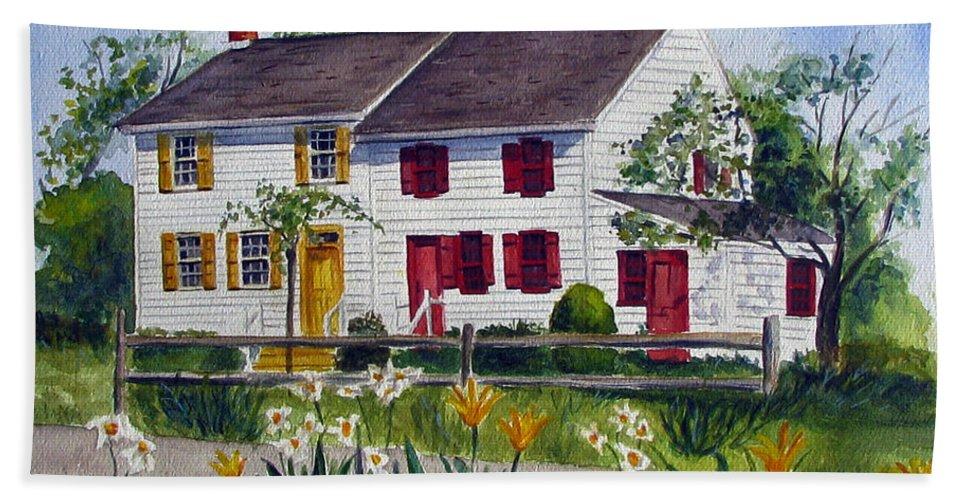 Abbott House Hand Towel featuring the painting Abbott House by Clara Sue Beym