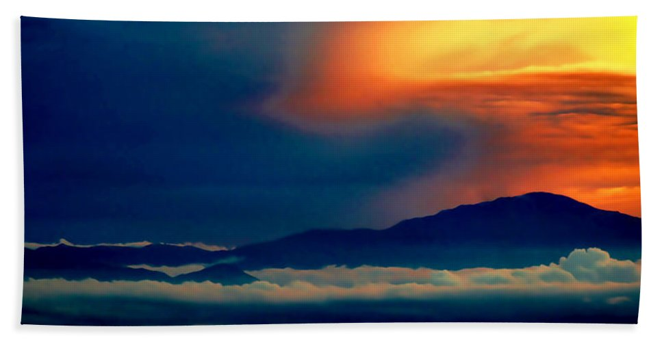 Clouds Bath Sheet featuring the photograph Above The Clouds by Ellen Heaverlo