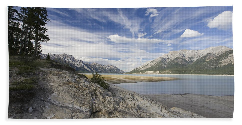 Mp Hand Towel featuring the photograph Abraham Lake Created By Bighorn Dam by Matthias Breiter